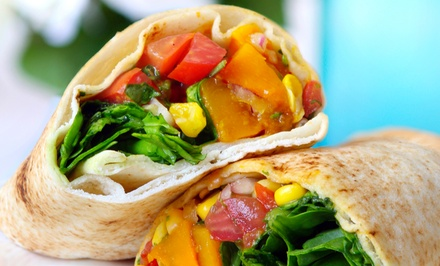 Salads,Wraps and Juices  for Lunch or Dinner at Miami Squeeze (Up to 52% Off)