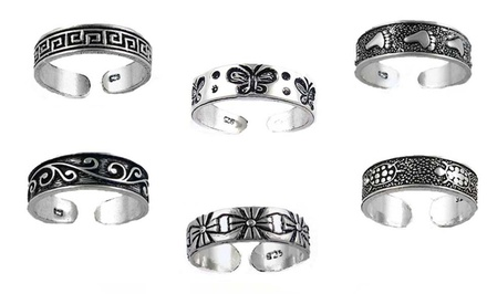 Sterling Silver Diamond-Cut Toe Rings