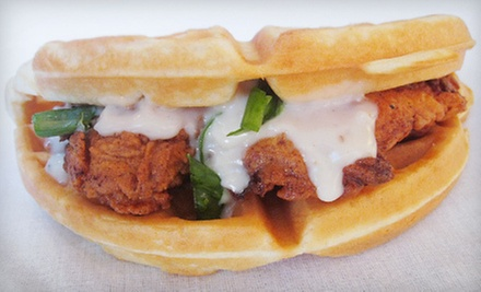 $5 for a Chicken and Waffle Sandwich at Melissa's Chicken and Waffles Food Truck