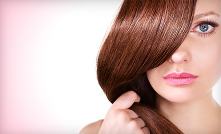$75 for A Haircut & Choice of Partial Highlights or All-Over Color  at Hair Station