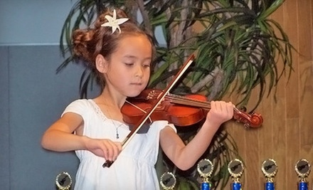 $20 for 3:00 p.m. 45-Minute Violin, Piano or Guitar Lesson  at Suzuki Academy Music School