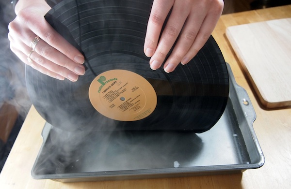 How to make vinyl record bookends without burning yourself for Things to make with old records