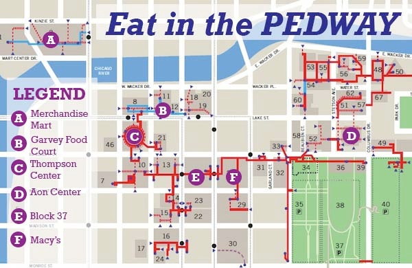 A Pedway Map For A Warm Coat Free Indoor Lunch Chicago