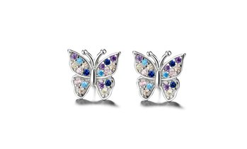 Sterling Silver Multi-Colored Swarvoski Crystal Butterfly Earring