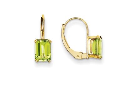 IceCarats Designer Jewelry 14k Madi K Emerald Shape Peridot Earrings