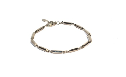 Women's Magnetic Link Bracelet in Silver Overlay and Bars and Balls Design