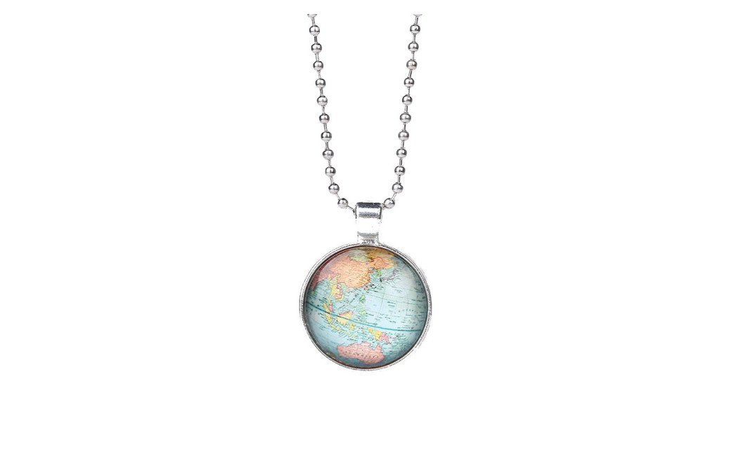 Globe planet earth world map pendant necklace on sale at groupon large image gumiabroncs Image collections