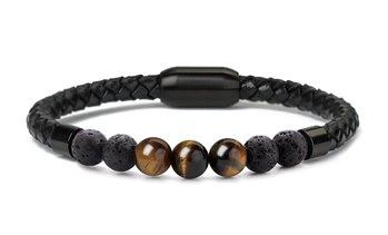 Men's Natural Healing Stone Leather Bracelet with Magnetic Closure