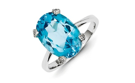 IceCarats Designer Jewelry Sterling Silver Rhodium Light Swiss Blue Topaz Diamond Ring