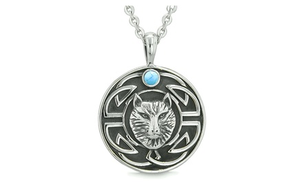 Amulet Courage Wisdom Wolf and Ancient Viking Celtic Knot Protection Pendant Necklace