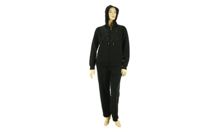 2-Piece Set: Plus Size Sparkling Stud Accent French Terry Track Suit - Assorted Colors