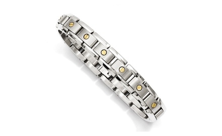 IceCarats Designer Jewelry Titanium with 14k Inlay Accent Bracelet