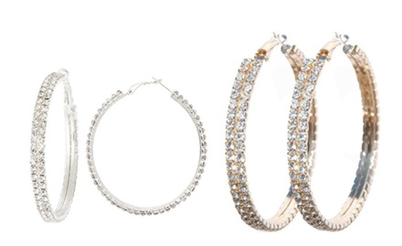 Double Tiered Hoop Earrings made with Swarovski Elements