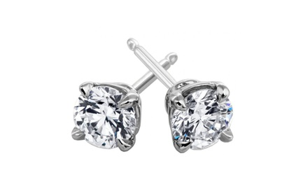 2.00 ct Round Cut Cubic Zirconia Stud Earrings in Push Back in Stainless Silver