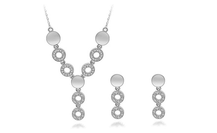 KATGI 18K White Gold Plated Luxury Look Fashion Austrian Crystal Necklace Earrings Set