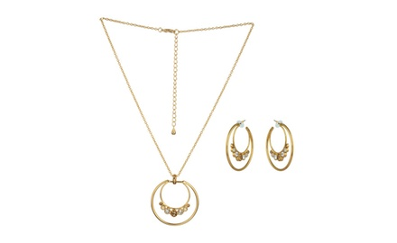 CRYSTALLIZED DOUBLE LOOP NECKLACE & EARRING SET