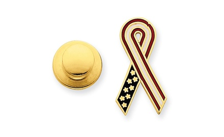 IceCarats Designer Jewelry 14k Red, White & Blue Enameled Awareness Ribbon Pin