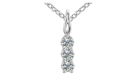 0.50 Ct Ladies Three Stone Round Cut Diamond Pendant / Necklace
