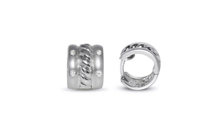 Diamond Accented Huggie Earrings in 14k White Gold (0.20ct)