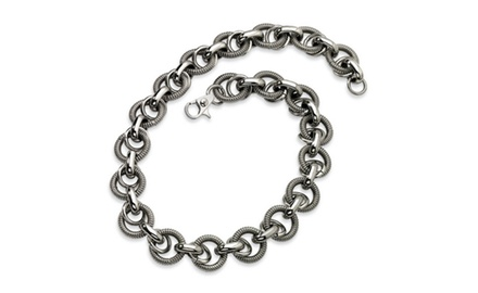 IceCarats Designer Jewelry Stainless Steel Fancy Link 22in Necklace