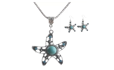 Turquoise Starfish Necklace and Earrings Set