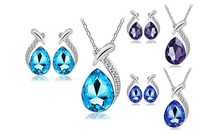 KATGI Fashion 18K White Gold Plated Droplet Austrian Crystal Necklace and Earrings Set