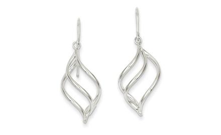IceCarats Designer Jewelry 14K WG Swirl Dangle Earrings