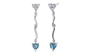 London Blue Topaz Earrings Sterling Silver Heart Shape 2 Carats Se7338