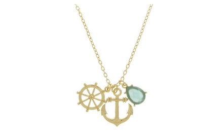 Aqua Jewel Anchor Necklace