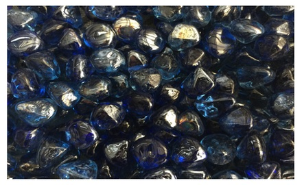 Deep Sea Blue Diamond Fire Glass Firepit Glass 10 Pounds Great for Fire Pit Fireglass or Fireplace Glass