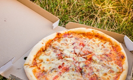 One ($10) or Two Large Takeaway Pizzas ($19), or Pizza Combo to Go ($18) from Akara Cafe and Pizzeria (Up to $42 Value)