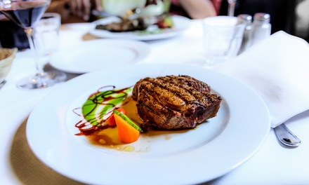6Ounce Sirloin Steak Meal with Side and Glass of Wine for Two or Four at Bourgee Restaurant Norwich