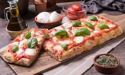 Teglia di pizza d'asporto e birra a 12,90€euro