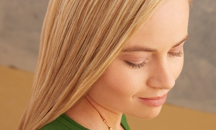 Blowout with Haircut and Conditioning Treatment or Single Process Color at Saints-N-Scissors (Up to 70% Off)