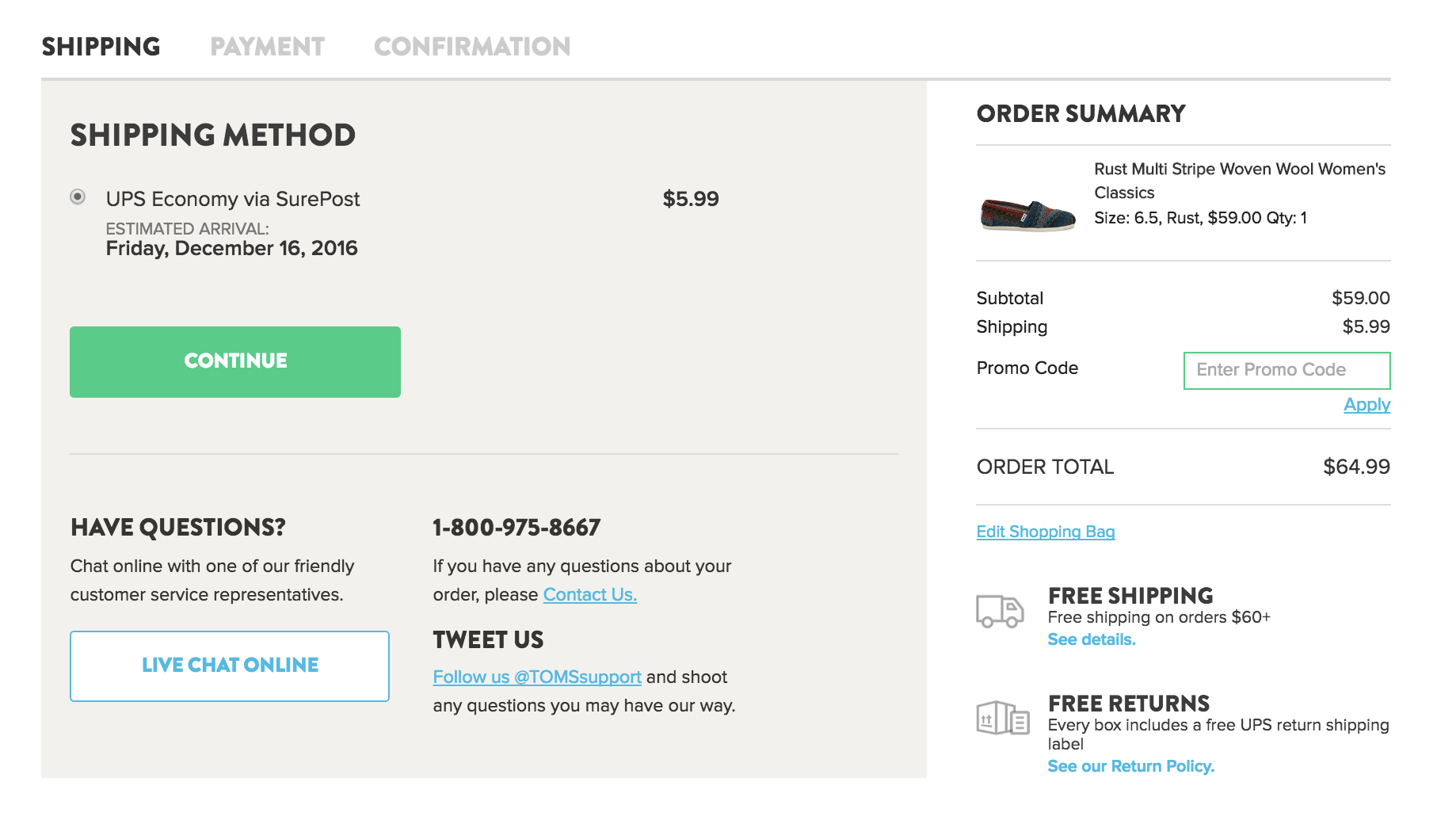 TOMS promo code field in shopping cart