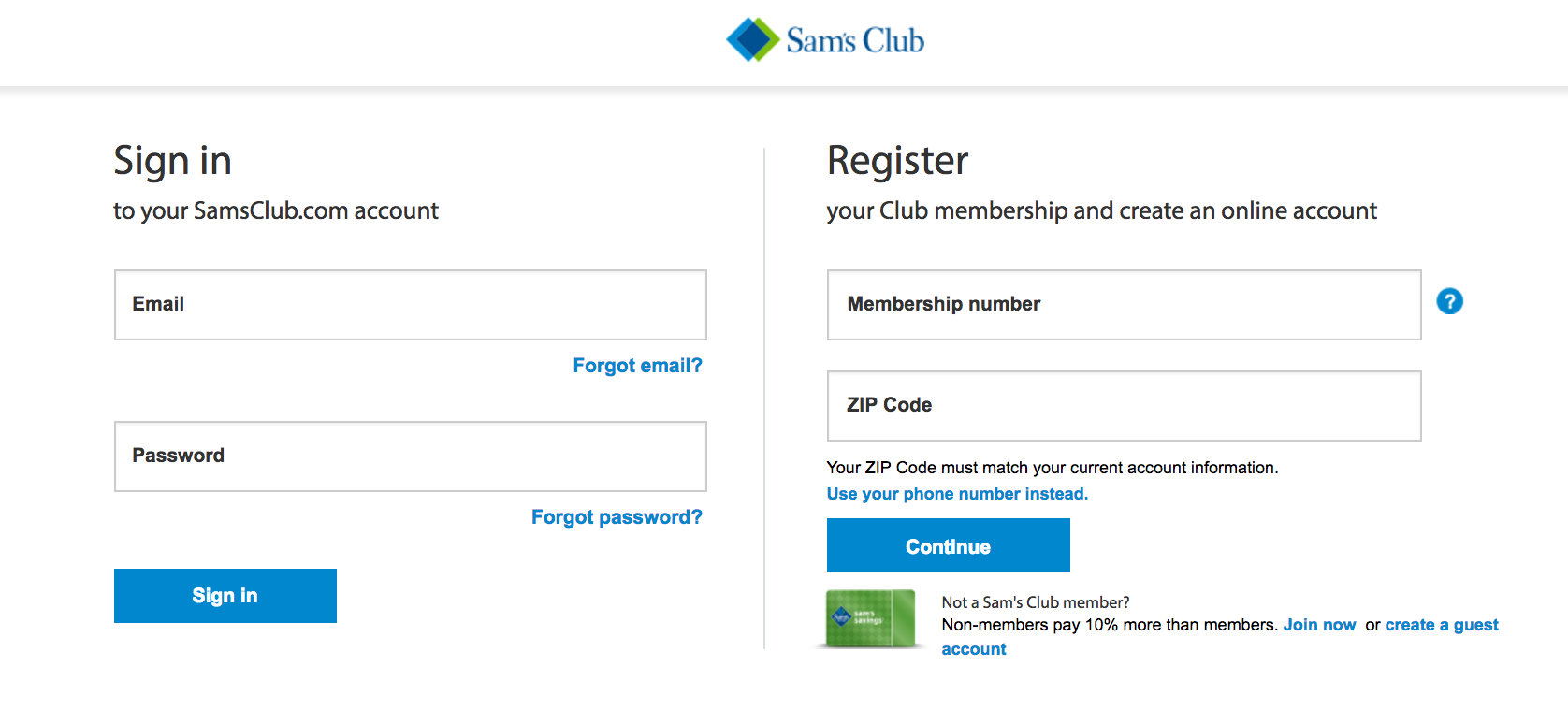 This is where you sign in before using your Sam's Club coupon code
