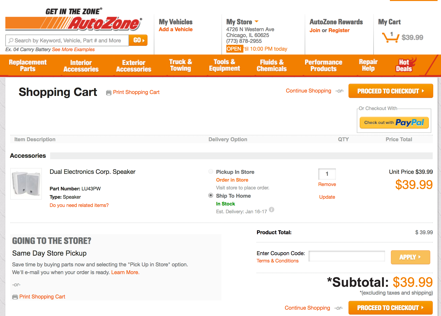 AutoZone coupon code field in shopping cart
