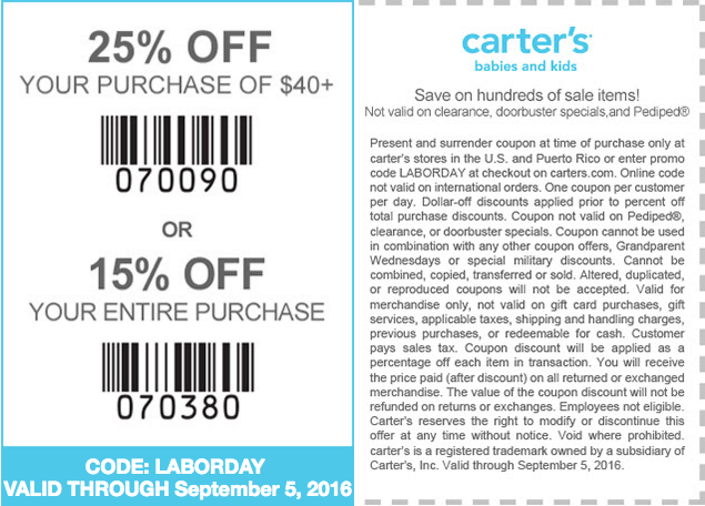 Carters com coupon code