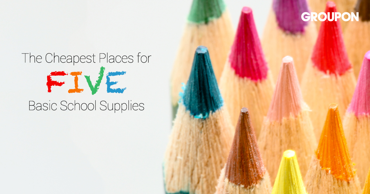 cheapest places for five basic school supplies