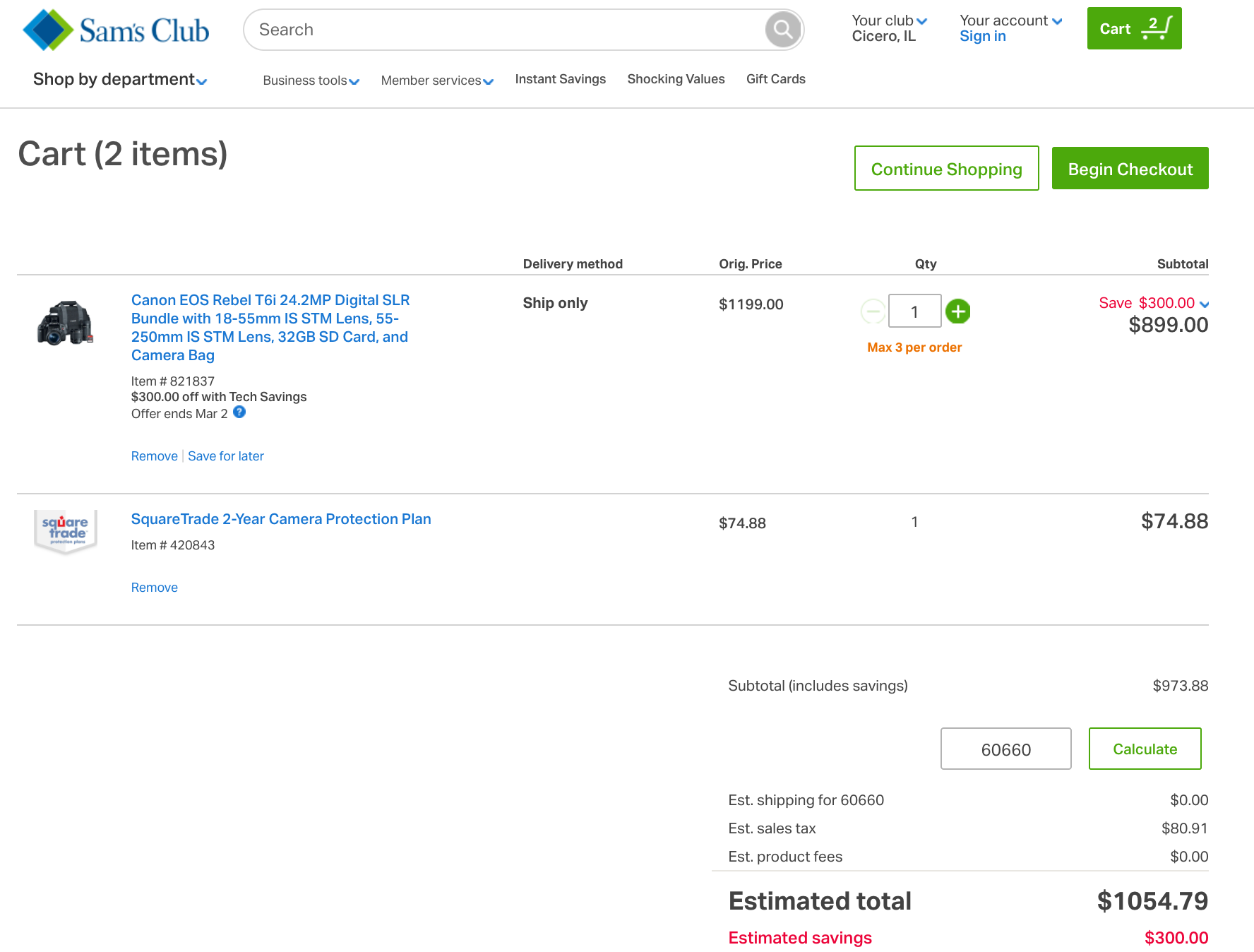 You'll enter your Sam's Club coupon code after your shopping cart is full