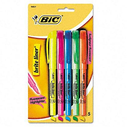 Set of 5 Bic highlighters