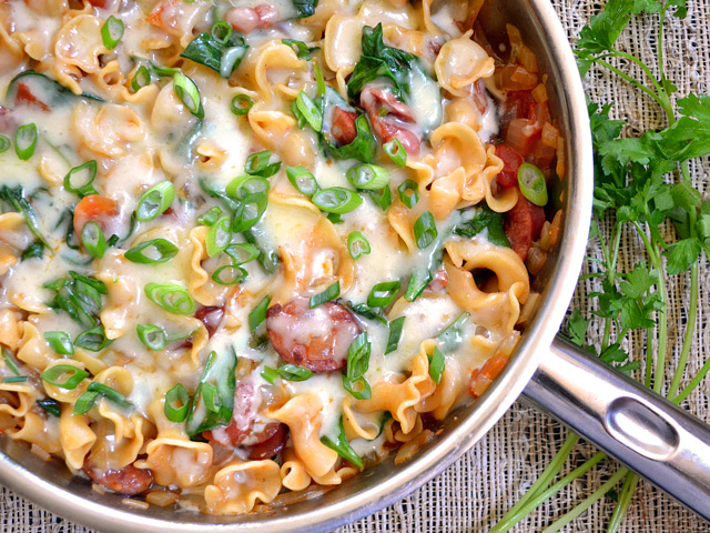 Creamy spinach & sausage pasta recipe from Budget Bytes