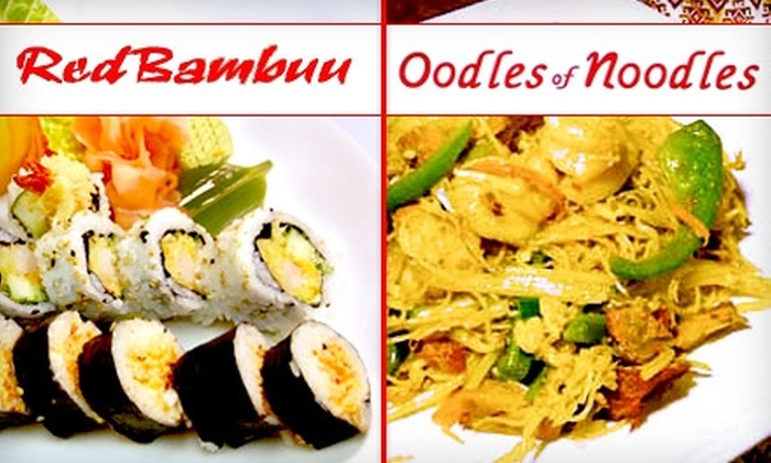 Oodles of Noodles - Multiple Locations: $10 for $25 Worth of Asian and Japanese Fare at Oodles of Noodles or Red Bambuu
