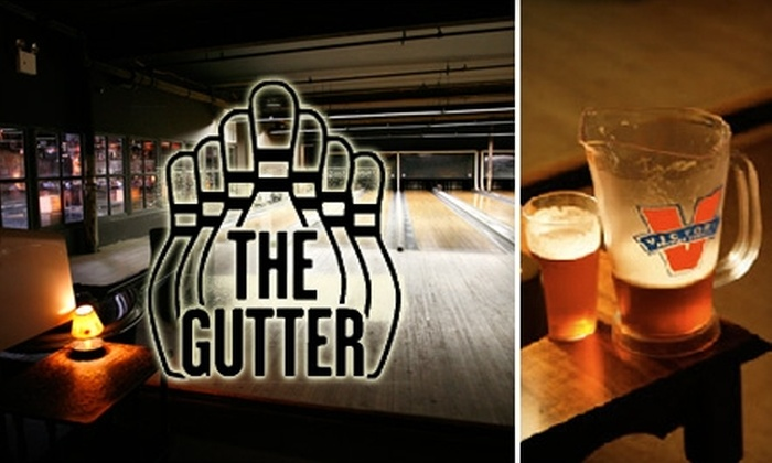 The Gutter - Greenpoint: $49 for One Hour of Bowling, Shoe Rental for Up to Four People, and Two Pitchers of Any Beer at The Gutter (Up to $99 Value)
