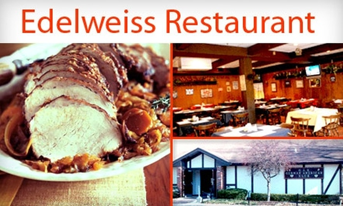 Edelweiss Restaurant - Hill Valley Estates: $20 for $50 Worth of Hearty German Eats at Edelweiss Restaurant and a One-Year Family Membership to the German American Klub ($100 Total Value)
