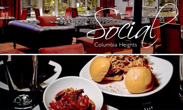 Social - Columbia Heights: $20 for $45 Worth of Inspired American Fare and Drinks at Social