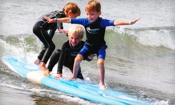 Aquaholics - Kennebunk: $45 for a 90-Minute Semi-Private Surfing Lesson at Aquaholics ($100 Value)