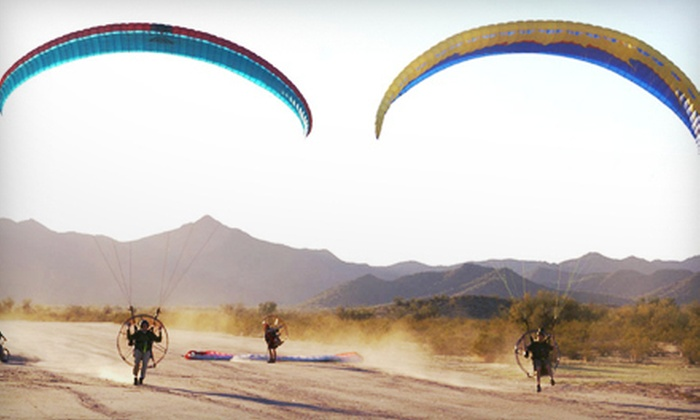 Airparamo - Casa Grande: 20- or 40-Minute Paragliding Discovery Flight with Calendar and T-Shirt from Airparamo in Maricopa (Up to 52% Off)