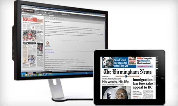 """The Birmingham News - Mountain Brook: Three- or Six-Month Subscription to """"The Birmingham News"""" Electronic Edition (Half Off)"""
