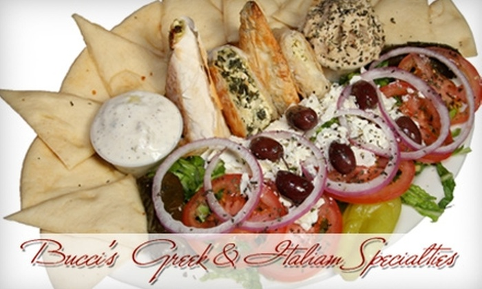 Bucci's Greek-Italian Specialties - Multiple Locations: $10 for $20 Worth of Mediterranean Cuisine at Bucci's Greek-Italian Specialties in Centennial